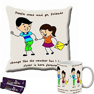 meSleep Bro  Sis Rakhi Cushion Cover and Mug Combo With Chocolates
