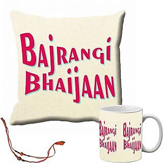 meSleep Bajrangi Bhaijaan Rakhi Cushion Cover and Mug Combo With Beautiful Rakhis