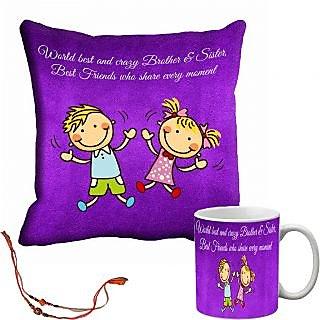 meSleep Brother  Sister Rakhi Cushion Cover and Mug Combo With Beautiful Rakhis