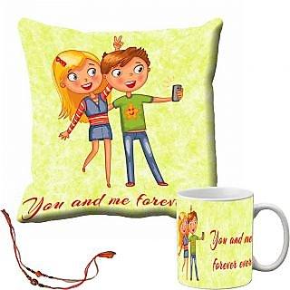 meSleep U And Me Forever Ever Rakhi Cushion Cover and Mug Combo With Beautiful Rakhis