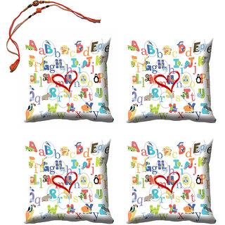 meSleep White Rakhi Cushion Cover (16x16) - Set of 4, With Beautiful Rakhis