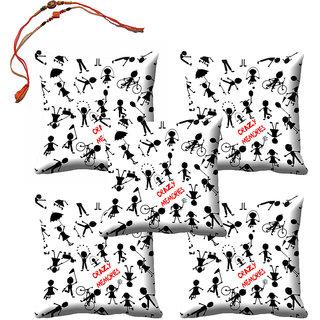 meSleep Bro  Sis Crazy Memories Rakhi Cushion Cover (16x16) - Set of 5, With Beautiful Rakhis