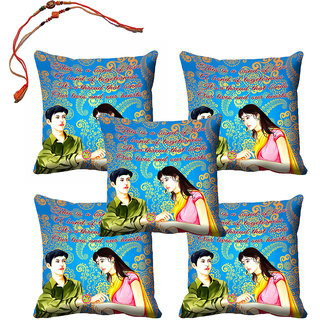meSleep Sister  Brother Rakhi Cushion Cover (16x16) - Set of 5, With Beautiful Rakhis