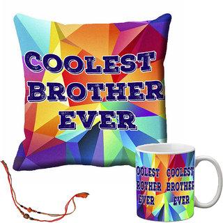 meSleep Coolest Brother Ever Rakhi Cushion Cover and Mug Combo With Beautiful Rakhis