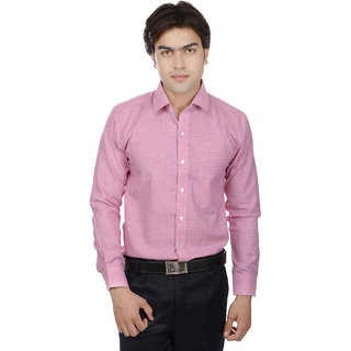 25th R Pink Cotton Blend Slim Fit Mens Formal Shirt
