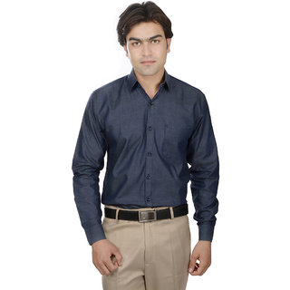 25th R Washed Cotton Blue Slim Fit Casual Shirts For Men