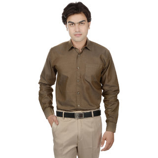 25th R Washed Cotton Brown Slim Fit Casual Shirts For Men