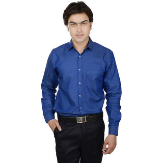 25th R Washed Cotton Indigo Blue Slim Fit Casual Shirts For Men