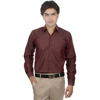 25th R Washed Cotton Maroon Slim Fit Casual Shirts For Men