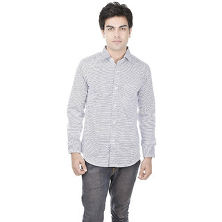 25th R 100 Cotton Printed Slim Fit White Casual Partywear Shirt for Men