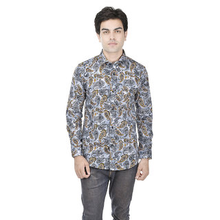 25th R 100 Cotton Printed Slim Fit Grey-Orange Casual Partywear Shirt for Men