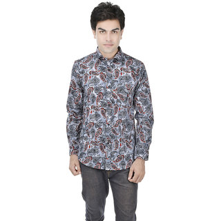 25th R 100 Cotton Slim Fit Grey-Red Printed Casual Partywear Shirts for Men