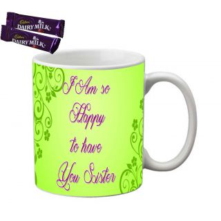meSleep Green Sister Rakhi Mug With Chocolates