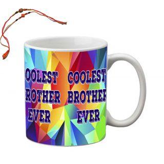 meSleep Coolest Brother Ever Rakhi Mug With Beautiful Rakhis