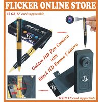 32 GB CARD SUPPORTABLE HD GOLDEN A  V PEN CAMERA + FREE HD BLACK BUTTON CAMERA