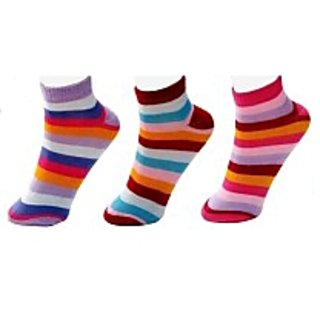 DDH Womens Striped Ankle Length Socks(Pack of 3)