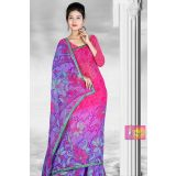 Pink And Blue Corn Flower Printed Saree With Green Lace Border 355988