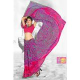 Stylish Pink And Light Blue Printed Saree With Green Lace Border 356009