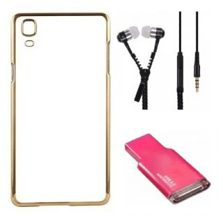 Back Cover For SAMSUNG S6 PLUS (Transparent  GOLDEN) With Zipper Earphone  Crad Reader
