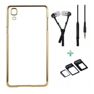 Back Cover For SAMSUNG J7 (Transparent  GOLDEN) With Zipper Earphone  NanoSim Adapter