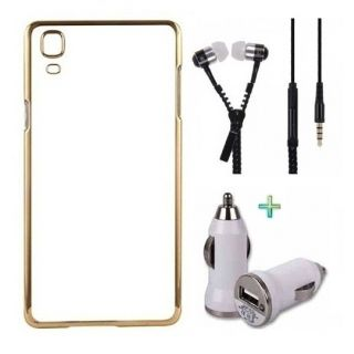 Back Cover For IPHONE 4G (Transparent  GOLDEN) With Zipper Earphone  Car Charger