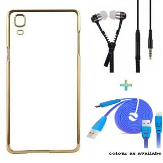 Back Cover For SAMSUNG J2 (2016) (Transparent  GOLDEN) With Zipper Earphone  USB SMILEY CABLE