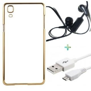 Back Cover For VIVO V3 (Transparent  GOLDEN) With Raag Earphone  USB CABLE