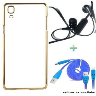 Back Cover For SAMSUNG A5 (Transparent  GOLDEN) With Raag Earphone  USB SMILEY CABLE
