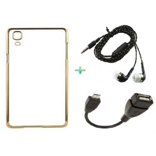 Back Cover For SAMSUNG A5 (Transparent  GOLDEN) With OTG CABLE  TARANG EARPHONE