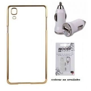 Back Cover For SAMSUNG G360 (Transparent  GOLDEN) With Car Charger  Nano Sim Adapter