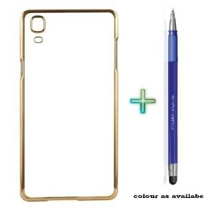 Back Cover For HUAWAI 6P (Transparent  GOLDEN) With STYLUS TOUCH PEN