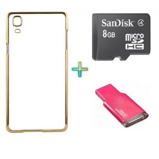 Back Cover For OPPO NEO 7 (Transparent  GOLDEN) With 8GB Memory Card  Crad Reader
