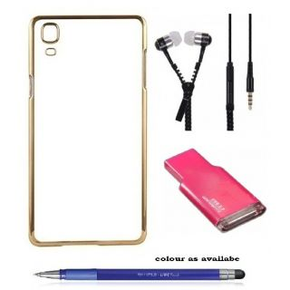 Back Cover For SAMSUNG G355 (Transparent  GOLDEN) With ZIPPER Earphone,Card Reader  Stylus Pen