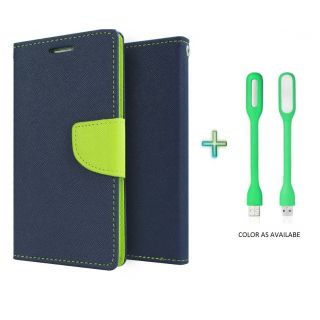 Wallet Flip Cover Case for MICROMAX  A107 (BLUE) With USB LIGHT