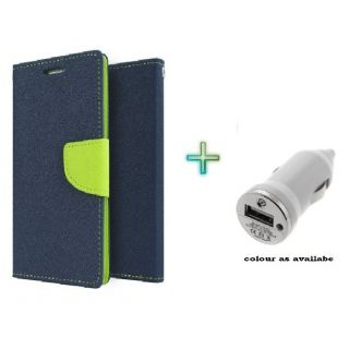 Wallet Flip Cover Case for XPERIA M2 (BLUE) With Car Charger Adapter