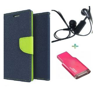Wallet Flip Cover Case for HTC 626 (BLUE) With  Raag Earphone  Card Reader