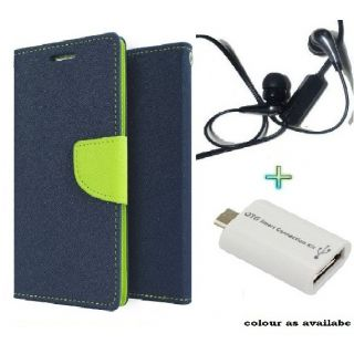 Wallet Flip Cover Case for SAMSUNG S2 (BLUE) With Raag Earphone  OTG SMART