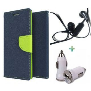 Wallet Flip Cover Case for MICROMAX Q372 (BLUE) With  Raag Earphone  Car Charger Adapter