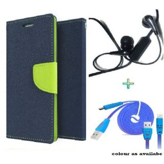 Wallet Flip Cover Case for MICROMAX  A114 (BLUE) With Raag Earphone  USB SMILEY CABLE