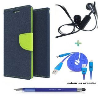 Wallet Flip Cover Case for 1+2 (BLUE) With  Raag Earphone,SMILEY USB CABLE  Stylus Pen