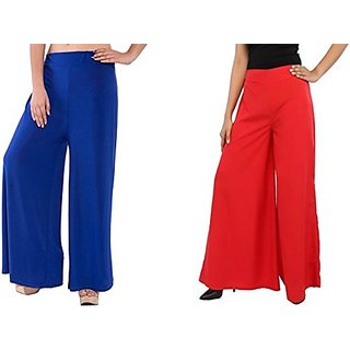 rK-New Fashion Women Casual summer pack 2 pc red and Blue colour palazzo Pants Plazzo Plazzo Trousers for