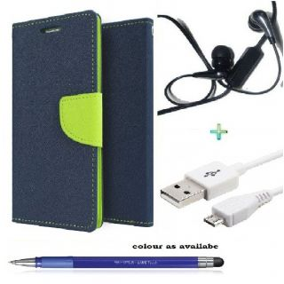 Wallet Flip Cover Case for SAMSUNG E7 (BLUE) With  Raag Earphone,USB CABLE  Stylus Pen