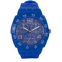 Round Dial Blue Silicone Strap Quartz Watch For Unisex By StolN