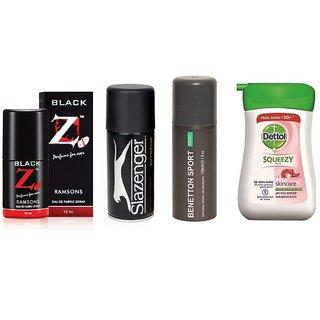 Combo Of Black Z Perfume & Slazenger Deo & Ucb Deo & Dettol Squeeze Handwash