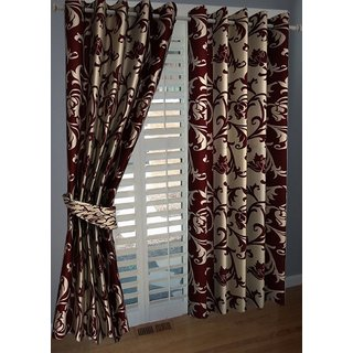 P Home Decor Polyester Door Curtains (Set of 2) 7 Feet x 4 Feet, Maroon