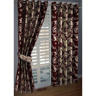 P Home Decor Polyester Door Curtains (Set of 2) 7 Feet x 4 Feet, Maroon