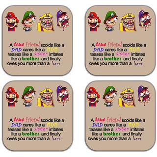 meSleep True Friends Wooden Coaster-Set of 4