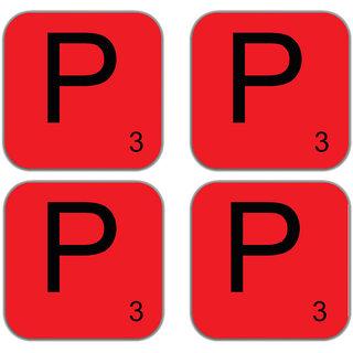 meSleep Alphabet P Wooden Coaster-Set of 4