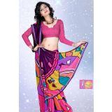 Fancy Pink And Violet Georgette Printed Saree With Violet Lace Border