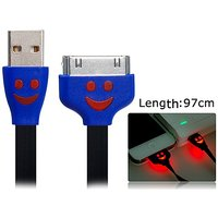 97 Cm Smiley Face Flat Data Cable For IPhone 4/4S (Black)